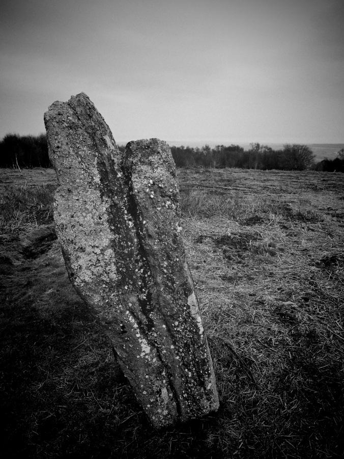 A standing stone on the summit of Mynydd Llwyd – the Grey Hill.