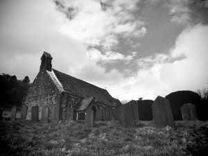 The church at Llanymawddwy, in the valley that inspired Alan Garner's 'The Owl Service'.