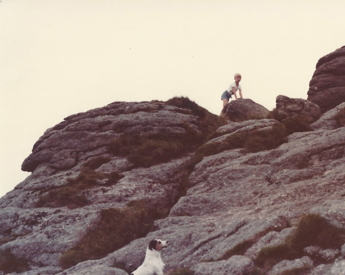 In an odd coincidence, one of the photos Dad took of me climbing up the Haytor rocks a quarter of a century before shows a similar Jack Russell gazing longingly up at the summit from the bottom of the frame.